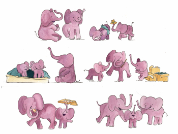 Elephants Character Sheet - THE ELEPHANTS UPSTAIRS by Sarah Steinberg  - dummy available