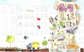 Full Spread - The Elephants Upstairs THE ELEPHANTS UPSTAIRS by Sarah Steinberg  - dummy available