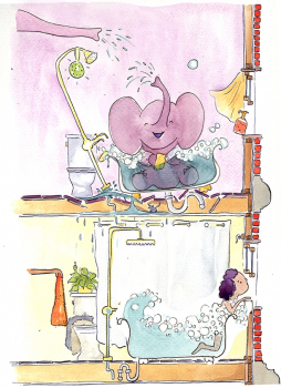 Full Page - The Elephants Upstairs -THE ELEPHANTS UPSTAIRS by Sarah Steinberg  - dummy available